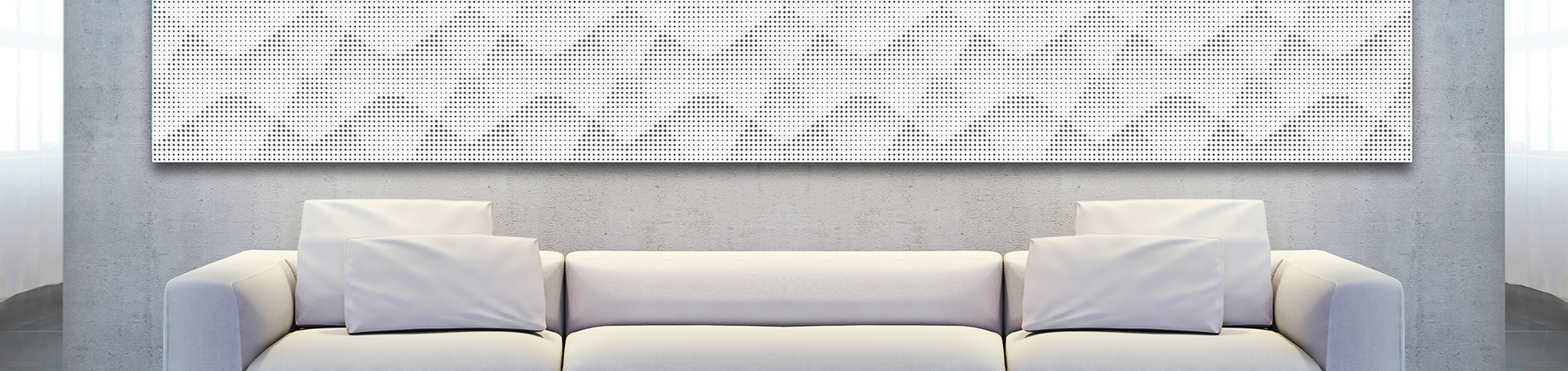 Artnovion White Acoustic Wall Panel with couch