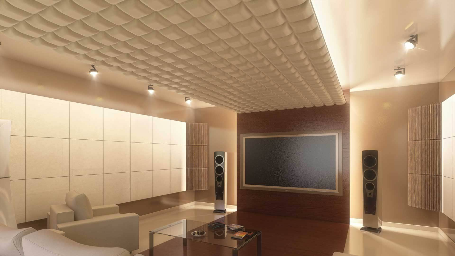 Artnovion acoustic panels on cinema ceiling for absorption