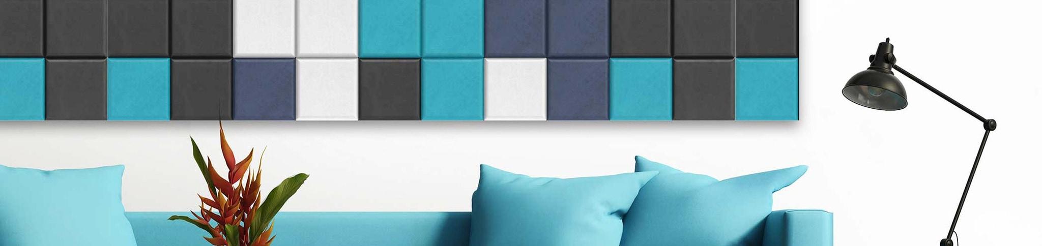 Artnovion blue and white designer acoustic panels on wall