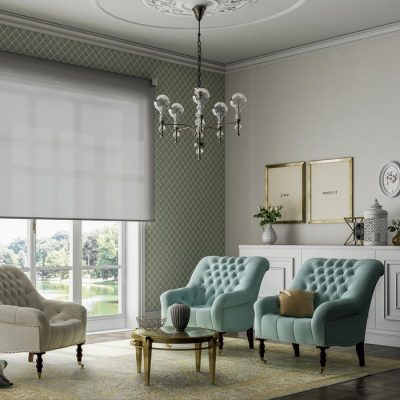 Luxury Tao roller shade in contemporary room