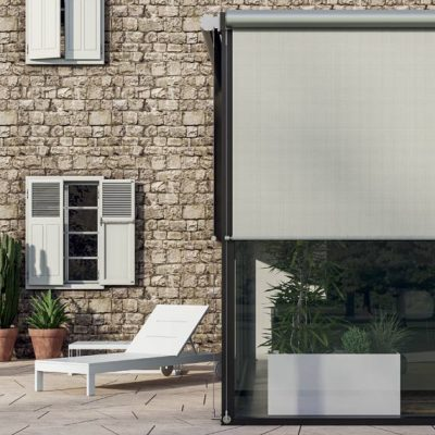 Contemporary Tao Outdoor Roller Blinds next to pool